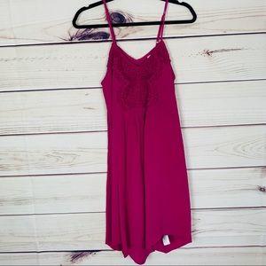 Pink embroidered dress asymmetrical hem nwot